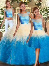Trendy Multi-color Sleeveless Lace and Ruffles Floor Length Quinceanera Dress