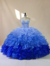 Amazing Floor Length Lace Up Vestidos de Quinceanera Multi-color for Sweet 16 and Quinceanera with Beading and Ruffles
