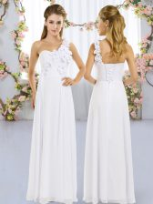 Wonderful Sleeveless Lace Up Floor Length Hand Made Flower Quinceanera Court of Honor Dress