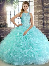 Decent Aqua Blue Sleeveless Fabric With Rolling Flowers Lace Up Sweet 16 Dresses for Military Ball and Sweet 16 and Quinceanera