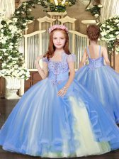 Inexpensive Floor Length Blue Little Girls Pageant Dress Wholesale Straps Sleeveless Lace Up