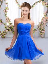 Spectacular Royal Blue Chiffon Lace Up Damas Dress Sleeveless Mini Length Ruching