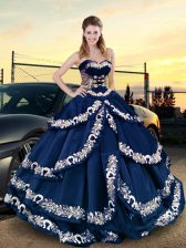 Dazzling Sweetheart Half Sleeves Quinceanera Dress Asymmetrical Embroidery Navy Blue Satin