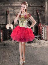Red Sleeveless Hand Made Flower Floor Length Dress for Prom