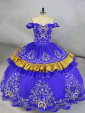 Pretty Blue Ball Gowns Satin and Organza Off The Shoulder Sleeveless Embroidery Floor Length Lace Up Sweet 16 Quinceanera Dress