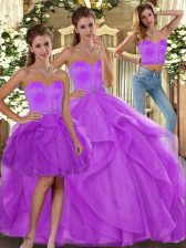 Fashion Lilac Sweetheart Lace Up Beading and Ruffles Quinceanera Dress Sleeveless