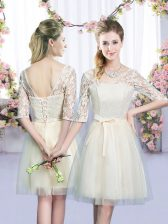 Custom Made Tulle V-neck Half Sleeves Lace Up Lace and Bowknot Quinceanera Dama Dress in Champagne