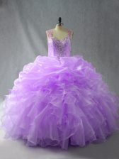 Chic Ball Gowns Sweet 16 Dress Lavender Straps Organza Sleeveless Floor Length Zipper