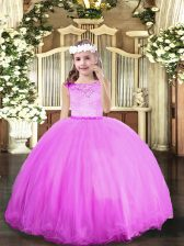 Lilac Ball Gowns Tulle Scoop Sleeveless Beading Floor Length Zipper Pageant Gowns