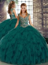Perfect Peacock Green Lace Up Sweet 16 Dresses Beading and Ruffles Sleeveless Floor Length