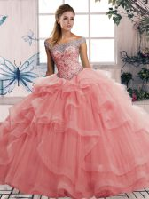 Simple Beading and Ruffles Quinceanera Dress Watermelon Red Lace Up Sleeveless Floor Length