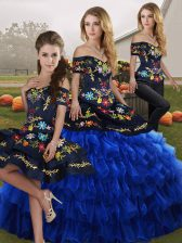 Blue And Black Sleeveless Embroidery and Ruffled Layers Floor Length Quinceanera Dresses