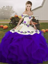 Elegant White And Purple Lace Up Vestidos de Quinceanera Embroidery and Ruffles Sleeveless Floor Length