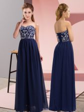 Ideal Sleeveless Lace Up Floor Length Beading Prom Evening Gown