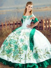 Green Off The Shoulder Lace Up Embroidery and Ruffles Sweet 16 Dress Sleeveless