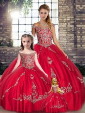 Red Sleeveless Floor Length Beading and Embroidery Lace Up Quinceanera Dress