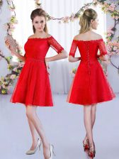 New Style Red Off The Shoulder Lace Up Lace Quinceanera Dama Dress Half Sleeves