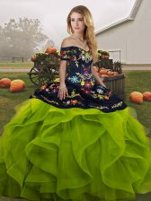 Great Ball Gowns Sweet 16 Quinceanera Dress Yellow Green Off The Shoulder Tulle Sleeveless Floor Length Lace Up