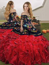 Floor Length Red And Black Quinceanera Gowns Off The Shoulder Sleeveless Lace Up