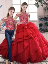 Great Two Pieces Red 15th Birthday Dress Lace Up