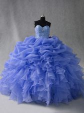 Blue Sleeveless Organza Lace Up 15th Birthday Dress for Sweet 16 and Quinceanera