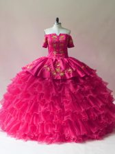 Fuchsia Ball Gowns Off The Shoulder Sleeveless Organza Floor Length Lace Up Embroidery and Ruffled Layers 15 Quinceanera Dress