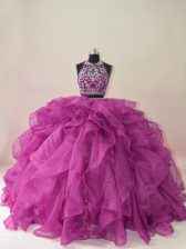 Sleeveless Brush Train Beading and Ruffles Backless Quinceanera Dress