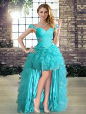 A-line Prom Evening Gown Aqua Blue Off The Shoulder Organza Sleeveless High Low Lace Up