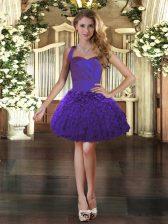 Purple Organza Lace Up Dress for Prom Sleeveless Mini Length Ruffles