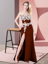 Pretty Rust Red Sleeveless Floor Length Lace and Appliques Zipper Prom Dresses