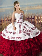 Organza Sweetheart Sleeveless Lace Up Embroidery and Ruffles Quinceanera Gown in Red