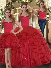 Red Lace Up Quinceanera Dresses Ruffles Sleeveless Floor Length