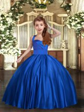 Best Straps Sleeveless Little Girls Pageant Gowns Floor Length Ruching Royal Blue Satin