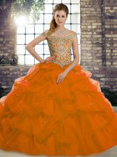 Hot Sale Rust Red 15 Quinceanera Dress Tulle Brush Train Sleeveless Beading and Pick Ups