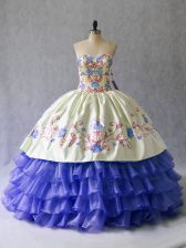 Floor Length Blue Quince Ball Gowns Satin and Organza Sleeveless Beading and Embroidery