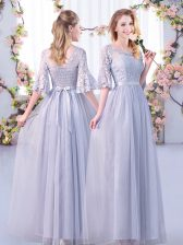 Half Sleeves Floor Length Lace and Belt Side Zipper Court Dresses for Sweet 16 with Grey