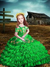 Organza Off The Shoulder Short Sleeves Lace Up Embroidery and Ruffled Layers Child Pageant Dress in Green