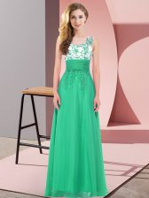 Empire Quinceanera Court Dresses Turquoise Scoop Chiffon Sleeveless Floor Length Backless