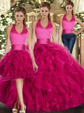 Great Three Pieces Sweet 16 Quinceanera Dress Fuchsia Halter Top Tulle Sleeveless Floor Length Lace Up
