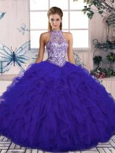 Purple Lace Up Halter Top Beading and Ruffles 15th Birthday Dress Tulle Sleeveless