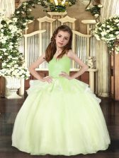 Excellent Yellow Green Ball Gowns Beading Little Girls Pageant Gowns Lace Up Organza Sleeveless Floor Length
