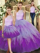 Multi-color Sleeveless Organza Backless 15th Birthday Dress for Military Ball and Sweet 16 and Quinceanera