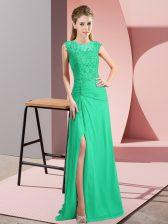 Customized Turquoise Sleeveless Beading Floor Length Prom Dress