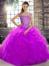 Admirable Sleeveless Brush Train Lace Up Beading and Ruffles 15th Birthday Dress