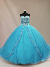 Aqua Blue Lace Up Sweetheart Beading Quinceanera Dress Tulle Sleeveless Court Train