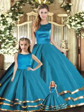 Fitting Scoop Sleeveless Lace Up Sweet 16 Dress Teal Tulle
