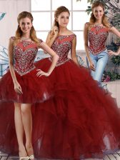 Glamorous Burgundy Scoop Zipper Beading and Ruffles Vestidos de Quinceanera Sleeveless
