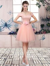 Pink Off The Shoulder Neckline Lace and Hand Made Flower Prom Dresses Short Sleeves Lace Up