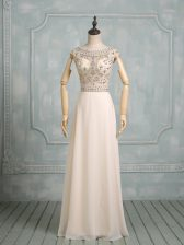 Floor Length Champagne Homecoming Dress Scoop Cap Sleeves Backless