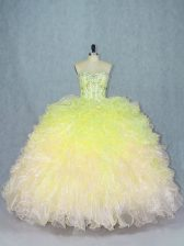 Eye-catching Sweetheart Sleeveless Ball Gown Prom Dress Floor Length Beading and Ruffles Multi-color Organza